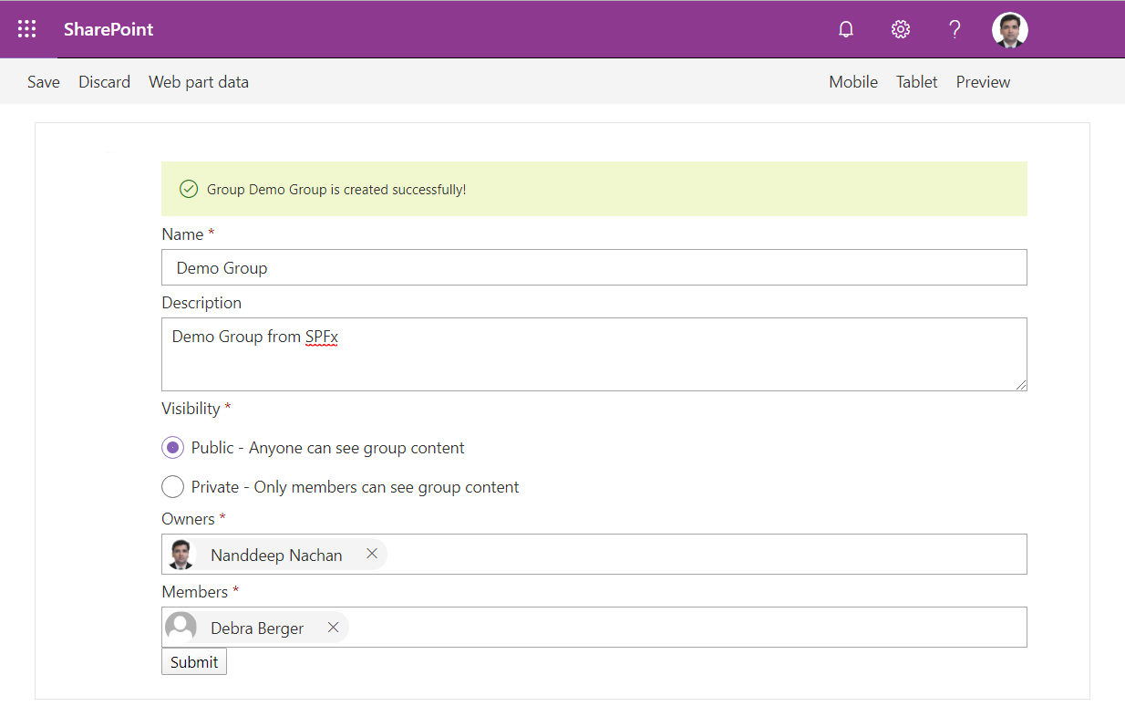 Create Office 365 Groups with SPFx